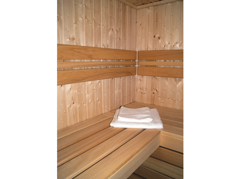 Elementbausauna Norway 6 - 70mm von Garten-Freunde - 4-Eck Sauna Fronteinstieg - 236 x 201 x 198 cm