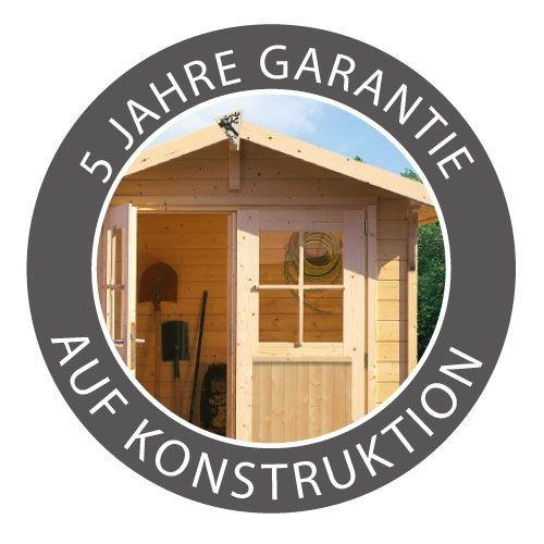 """Woodfeeling Gartenhaus  """"Sommer House 1"""" im Set mit Anbaudach 2,40 m Breite - 19mm Flachdach - Farbe: sandbeige"""