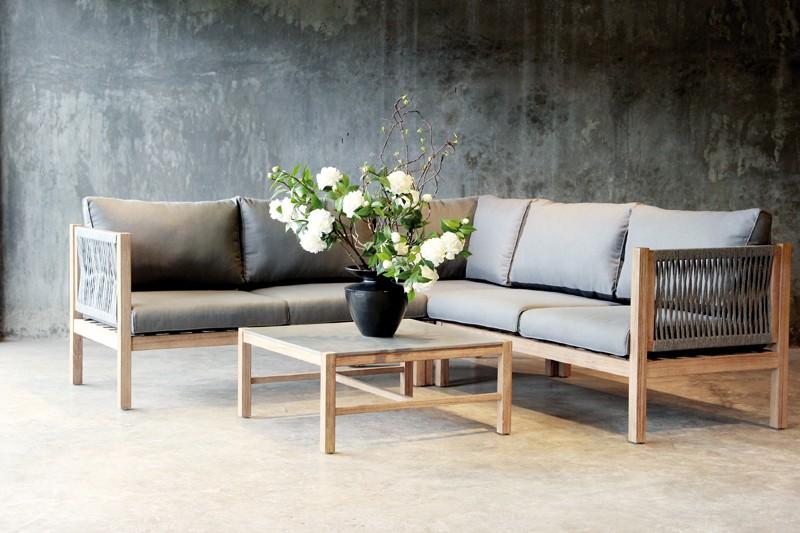 Best Lounge-Mittelteil 1-Sitzer Madagaskar inkl. Auflagen - Eukaltyptus/Gurt