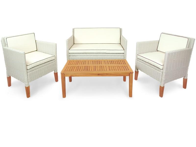 Gartenmöbel Set 4-teilig Havanna aus Polyrattan und Holz - Farbe altweiß mit Eukalyptus inkl. Auflagen