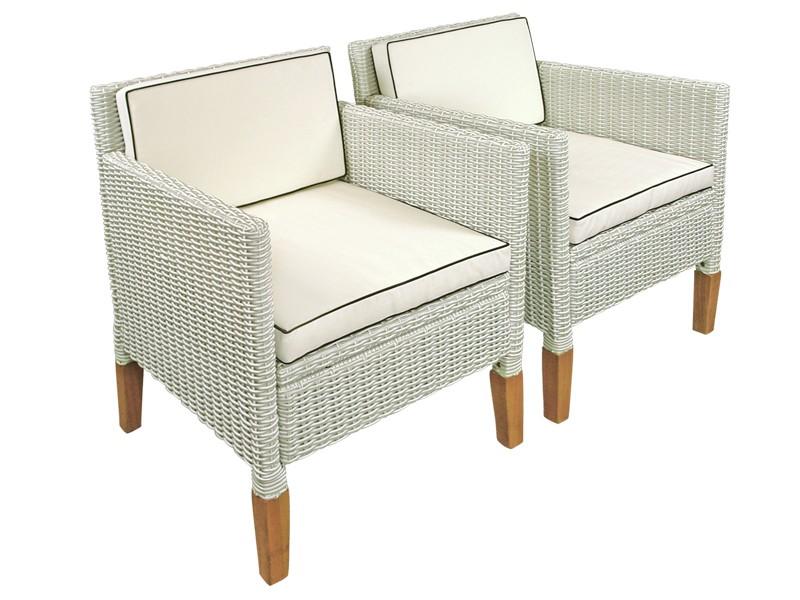 Gartenmöbel Set 2-teilig Gartenstuhl Havanna aus Polyrattan und Holz - Farbe altweiß mit Eukalyptus inkl. Auflagen