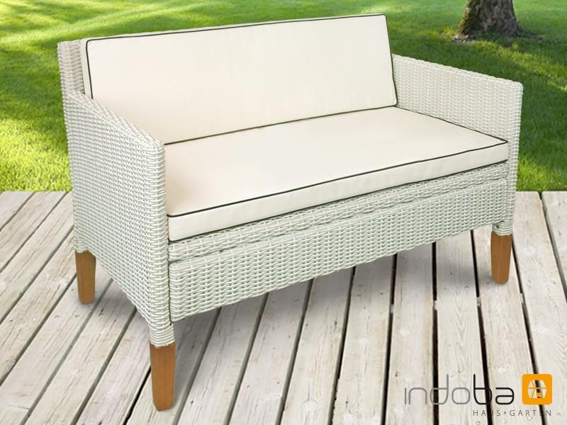 Gartenmöbel Sofa 2,5 Sitzer Havanna Gartensessel aus Polyrattan und Holz - Farbe altweiß mit Eukalyptus inkl. Auflagen