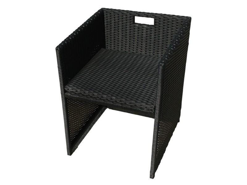Gartenmöbel Gartenstuhl Faro 2-teilig aus Polyrattan - schwarz inkl. Auflagen und klappbarer Rückenlehne