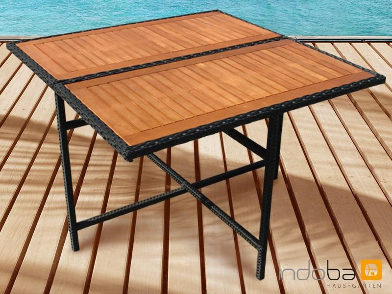 Gartenmöbel Gartentisch Faro - quadratisch - Polyrattan mit Eukalyptus Tischplatte - schwarz