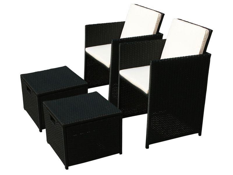 Balkonmöbel Set Gartenstuhl inkl. Hocker Faro 4-teilig aus Polyrattan - schwarz inkl. Auflagen und klappbarer Rückenlehne