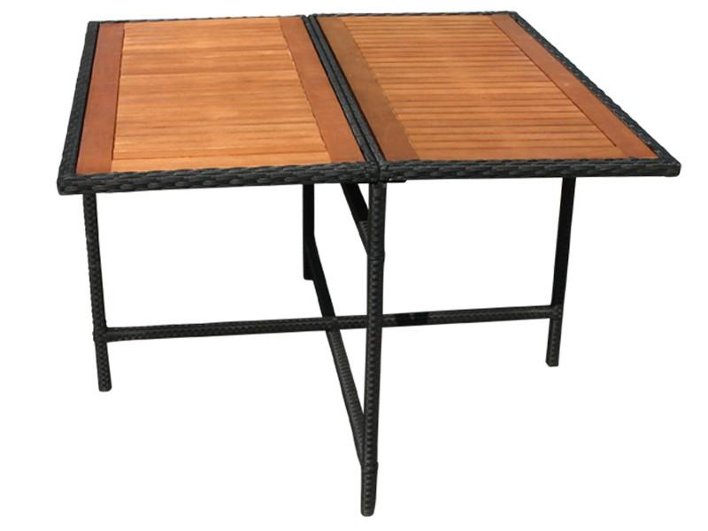 Balkonmöbelset Faro 5-teilig aus Polyrattan - schwarz inkl. Gartentisch, Auflagen und klappbarer Rückenlehne