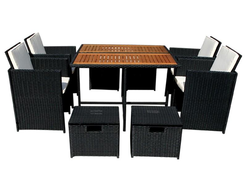 Balkonmöbelset Faro 9-teilig aus Polyrattan - schwarz inkl. Gartentisch, Auflagen und klappbarer Rückenlehne