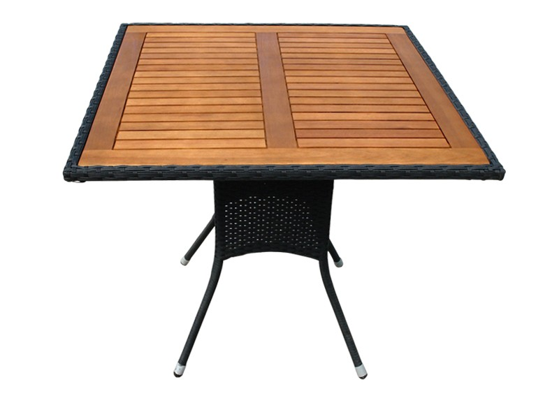 Gartenmöbel Gartentisch Valencia - quadratisch - Polyrattan mit Eukalyptus Tischplatte - schwarz