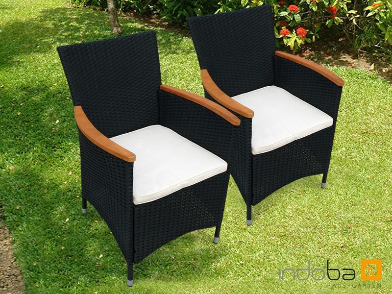 Gartenmöbel Gartenstuhl Set Valencia 2-teilig - Polyrattan - schwarz inkl. Auflage