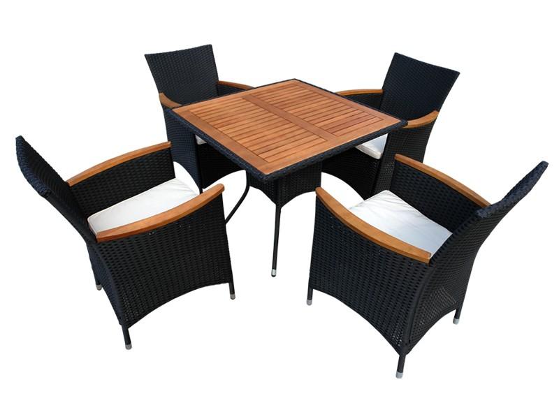 Gartenmöbel Set 5-teilig Valencia - Polyrattan - schwarz inkl. Auflagen