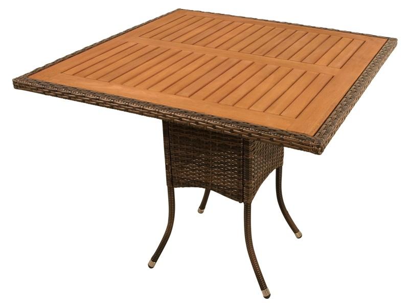 Gartenmöbel Gartentisch Valencia - quadratisch - Polyrattan mit Eukalyptus Tischplatte - braun