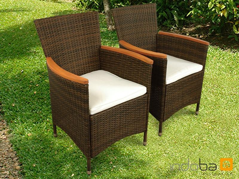 Gartenmöbel Gartenstuhl Set Valencia 2-teilig - Polyrattan - braun inkl. Auflage