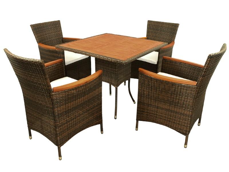 Gartenmöbel Set 5-teilig Valencia - Polyrattan - braun inkl. Auflagen