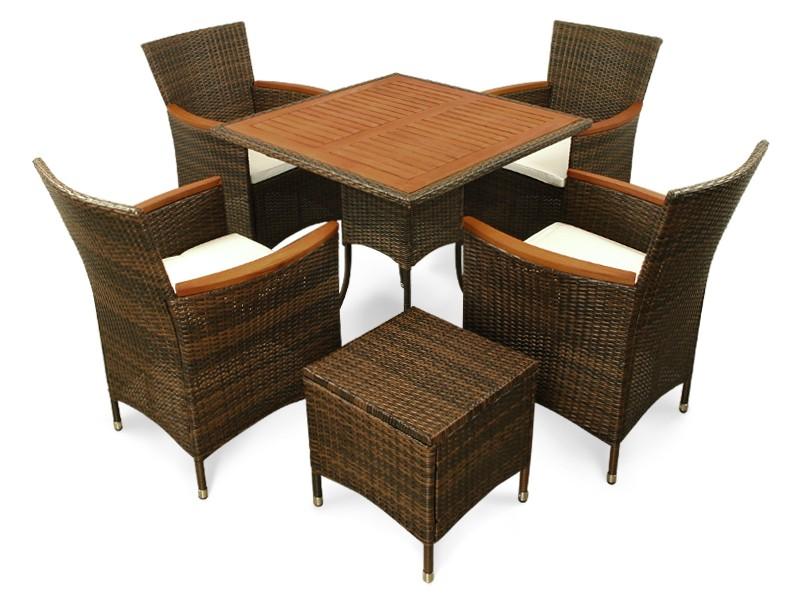 Gartenmöbel Set 6-teilig Valencia - Polyrattan - braun inkl. Auflagen