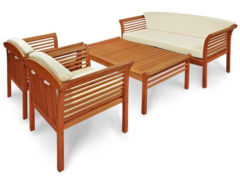 Gartenmöbel Set 4-teilig Samoa - Gartenset aus Eukalyptus inkl. Auflage