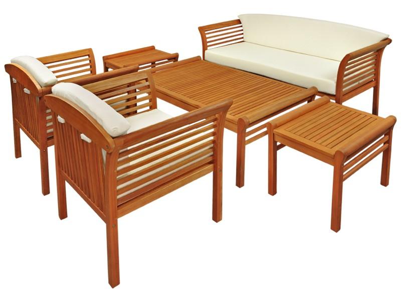 Gartenmöbel Set 6-teilig Samoa - Gartenset aus Eukalyptus inkl. Auflage