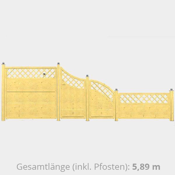 TraumGarten Sichtschutzzaun Holz Komplettset aus Serie XL naturbelassen - ca. 5,89 m