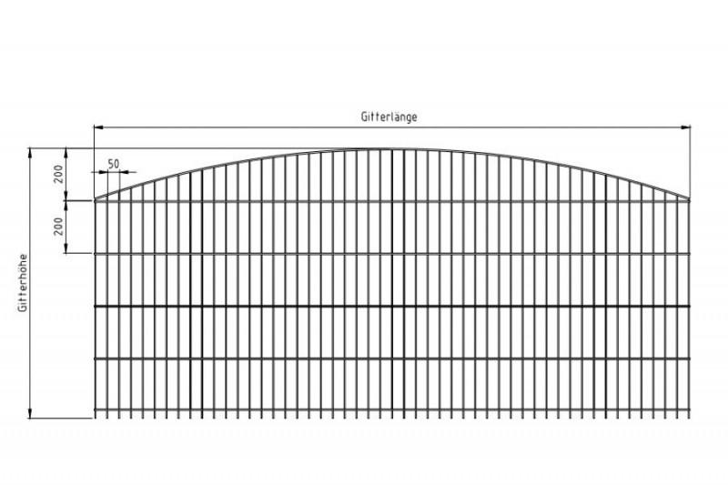 Schmuckzaun Rezidenz Sydney silbergrau verzinkt - Gitterhöhe: 1206mm