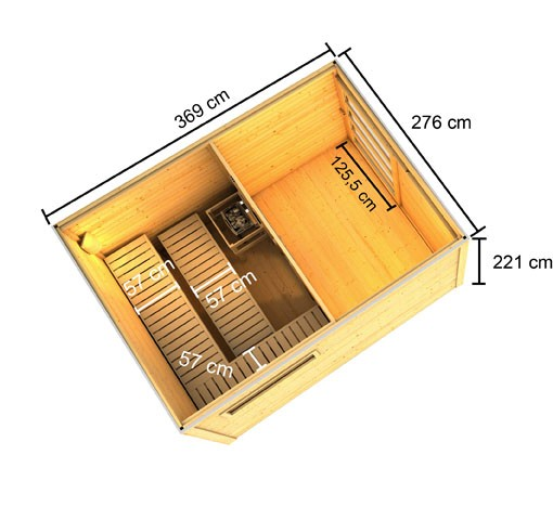 Karibu Außensauna 38 mm Saunahaus Caleb inkl. Vorraum - Flachdach - naturbelassen - ohne Ofen
