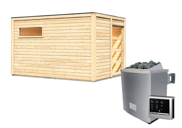 Karibu Außensauna 38 mm Saunahaus Caleb inkl. Vorraum - Flachdach - naturbelassen - mit 9 KW Ofen ext. Steuerung