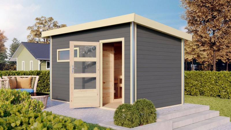 Karibu Aussensauna Pultdachhaus 38mm Skrollan 3 in terragrau mit Vorraum ohne Saunaofen