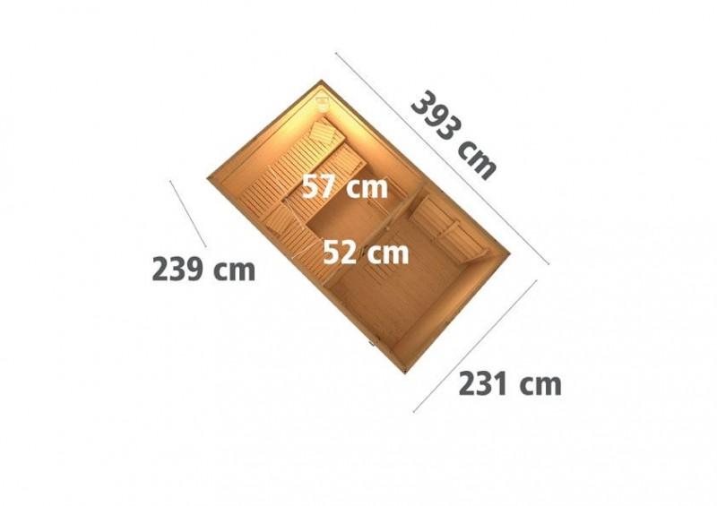 Karibu Aussensauna Pultdachhaus 38mm Skrollan 3 in terragrau mit Vorraum inkl. Ofen 9 KW externe Strg easy