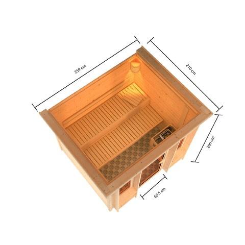 Karibu Massivholz Sauna Ilona 40mm - Fronteinstieg - inkl. Dachkranz und Zubehör