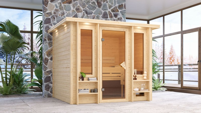 Karibu Massivholz Sauna Ilona 40mm - Fronteinstieg - 9 kW Saunaofen mit int. Steuerung