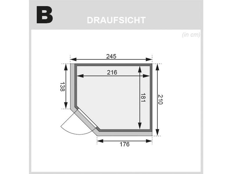 Karibu 68 mm Superior Systembausauna Ainur - Eckeinstieg - mit Dachkranz