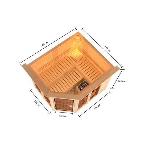 Karibu Sauna 68 mm Systemsauna Superior Ainur 3 mit 9 kW Bio-Kombi Saunaofen externer Steuerung mit Dachkranz