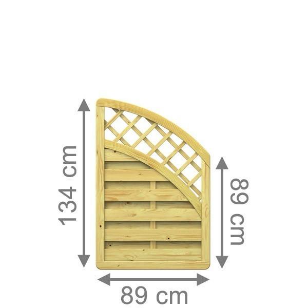 TraumGarten Sichtschutzzaun Nadelholz XL Anschluss kdi mit Gitter Bogen oben - 89 x 134 auf 89 cm