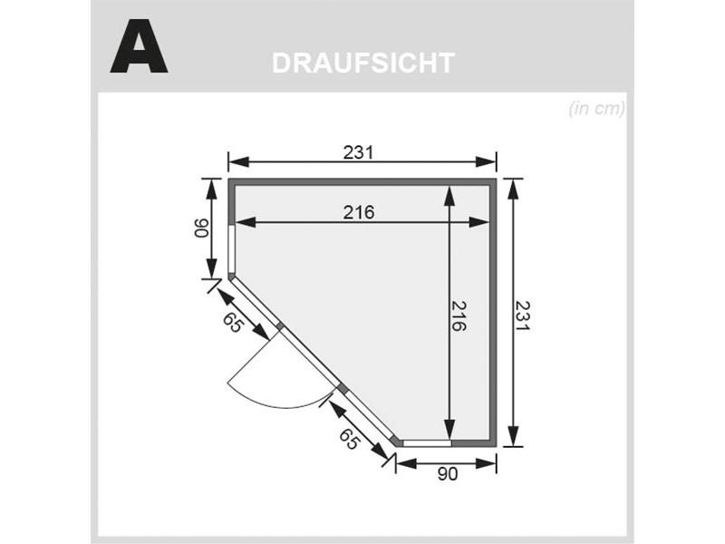 Karibu 68 mm Superior Systembausauna Alcinda - Eckeinstieg - ohne Dachkranz