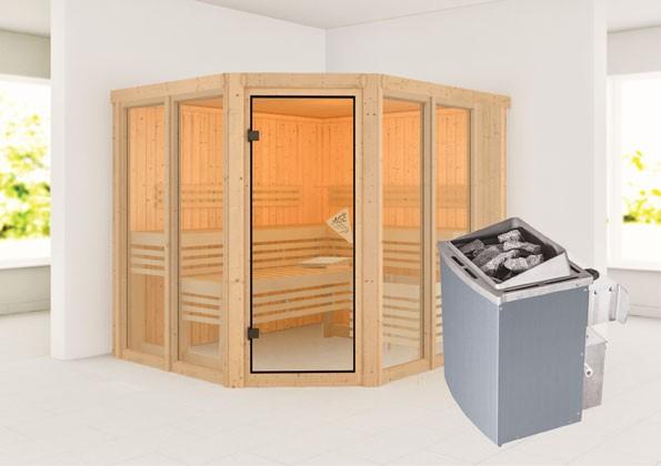 Karibu Sauna 68 mm Systemsauna Superior Ainur 3 inkl. 9 kW Ofen mit int. Steuerung  - Eckeinstieg