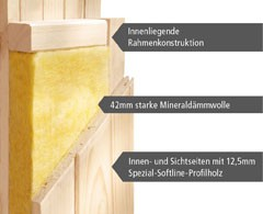 Karibu Sauna 68 mm Systemsauna Superior Alcinda 2 inkl. 9 kW Bio-Kombi-Ofen mit ext. Steuerung  - Eckeinstieg