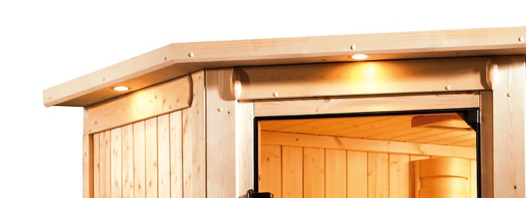 Karibu Multifunktionsauna 68 mm Systemsauna Ava inkl. 9 kW Saunaofen und 2 Strahlern - Eckeinstieg mit Dachkranz