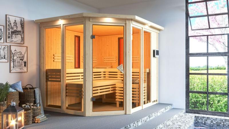 Karibu Multifunktionsauna 68 mm Systemsauna Ava inkl. 9 kW Bio-Kombi-Saunaofen und 2 Strahlern - Eckeinstieg mit Dachkranz