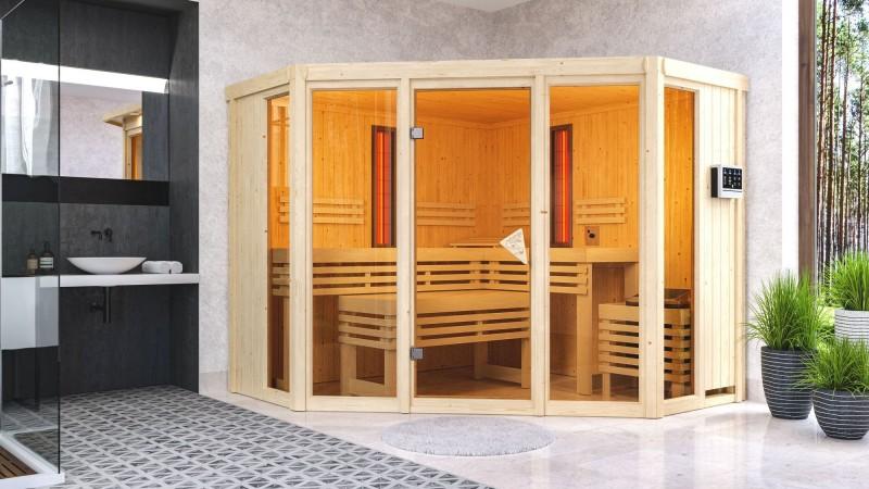 Karibu Multifunktionsauna 68 mm Systemsauna Asta inkl. 9 kW Bio-Kombi-Saunaofen und 2 Strahlern - Eckeinstieg