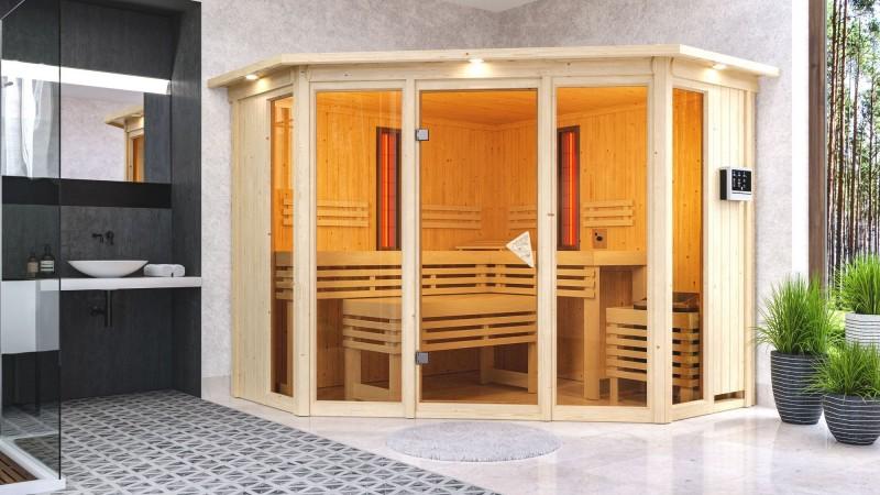 Karibu Multifunktionsauna 68 mm Systemsauna Asta inkl. 9 kW Saunaofen und 2 Strahlern - Eckeinstieg mit Dachkranz