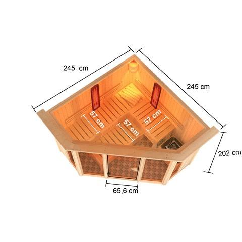 Karibu Multifunktionsauna 68 mm Systemsauna Asta inkl. 9 kW Bio-Kombi-Saunaofen und 2 Strahlern - Eckeinstieg mit Dachkranz