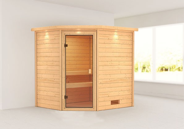 Woodfeeling 38 mm Massivholz Sauna Elea Classic ohne Ofen mit Dachkranz - für niedrige Räume