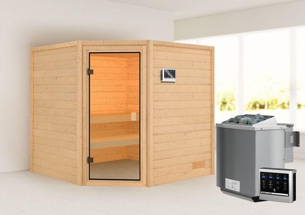 Woodfeeling 38 mm Massivholz Sauna Tilda Classic  inkl. Ofen 9 kW Bio externe Steuerung - für niedrige Räume