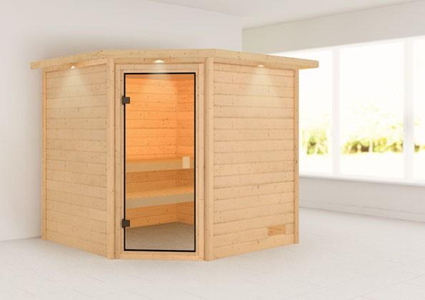 Woodfeeling 38 mm Massivholz Sauna Tilda Classic ohne Ofen mit Dachkranz - für niedrige Räume