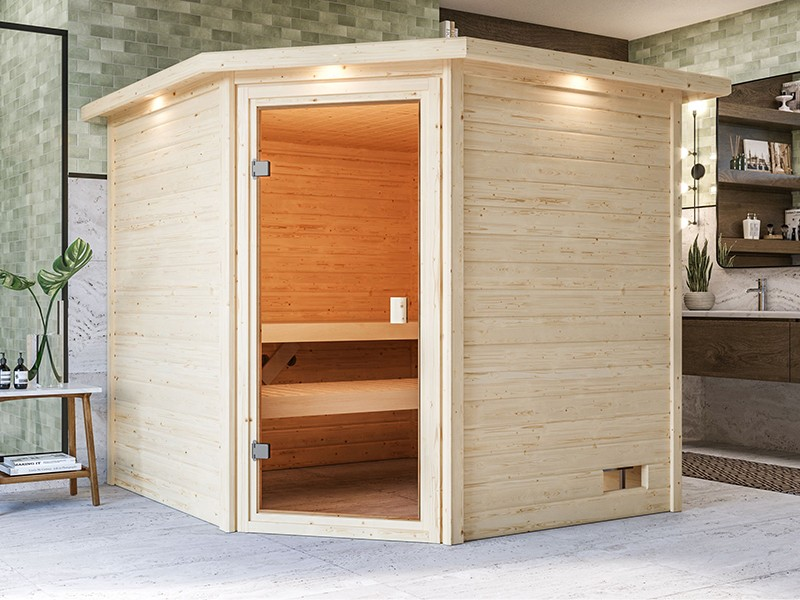 Woodfeeling 38 mm Massivholzsauna Tilda - für niedrige Räume - mit Dachkranz