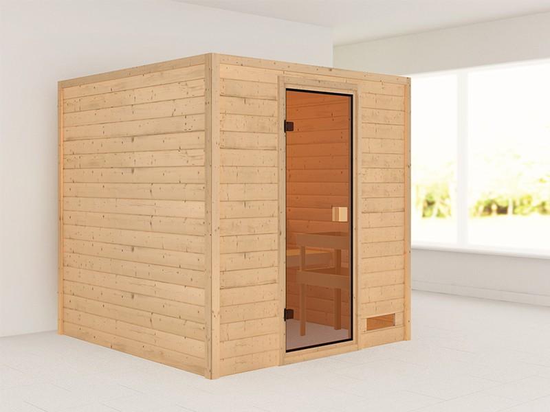 Woodfeeling 38 mm Massivholzsauna Jara - für niedrige Räume - ohne Dachkranz - Modell 2021/2022