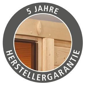 Woodfeeling 38 mm Massivholz Sauna Jara Classic  inkl. Ofen 9 kW Bio externe Steuerung - für niedrige Räume