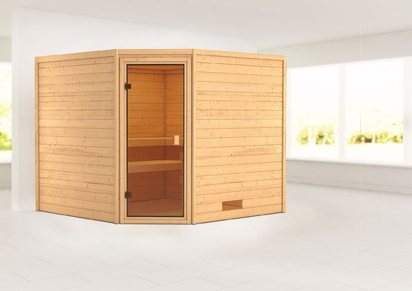 Woodfeeling 38 mm Massivholz Sauna Dalia Classic ohne Ofen - für niedrige Räume