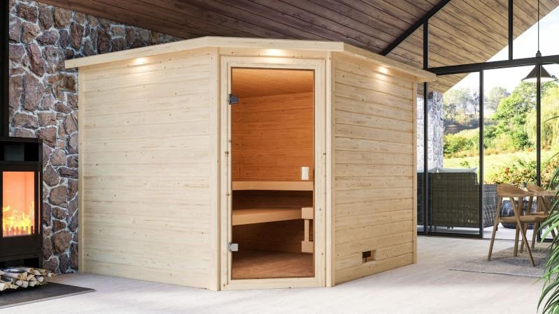 Woodfeeling 38 mm Massivholz Sauna Dalia Classic ohne Ofen mit Dachkranz - für niedrige Räume