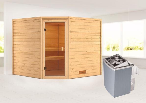 Woodfeeling 38 mm Massivholz Sauna Dalia Classic  inkl. Ofen 9 kW integr. Steuerung - für niedrige Räume