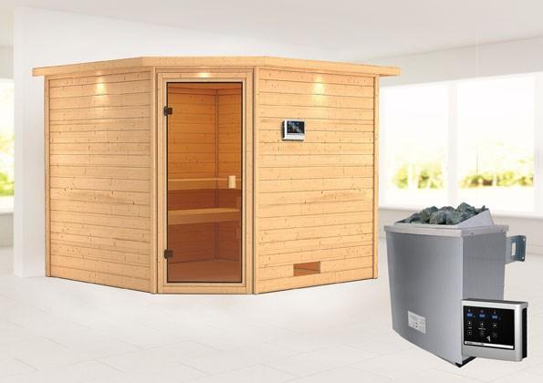 Woodfeeling 38 mm Massivholz Sauna Dalia Classic  inkl. Ofen 9 kW externe Steuerung mit Dachkranz - für niedrige Räume