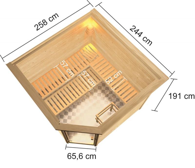 Woodfeeling 38 mm Massivholz Sauna Dalia Classic  inkl. Ofen 9 kW Bio externe Steuerung mit Dachkranz - für niedrige Räume